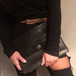 COACH black leather envelope clutch